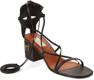 Valentino Black Ankle-Wrap Leather Sandals