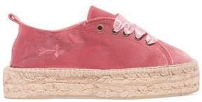 Manebi Satin-Trimmed Velvet Espadrille Sneakers