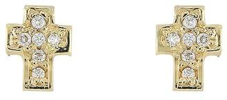 Bony Levy 18K Yellow Gold Diamond Cross Stud Earrings - 0.04 ctw