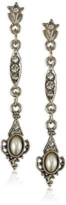 """Downton Abbey """"Stardust Carded"""" Silver-Tone Simulated Pearl and Crystal Drop Earrings"""