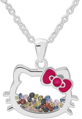 Hello Kitty Fine Silver-Tone Crystal Shaker Pendant with Chain