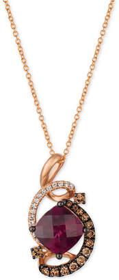 "LeVian Le Vian Raspberry Rhodolite (1-3/4 ct. t.w.) & Diamond (3/8 ct. t.w.) 18"" Pendant Necklace in 14k Rose Gold"