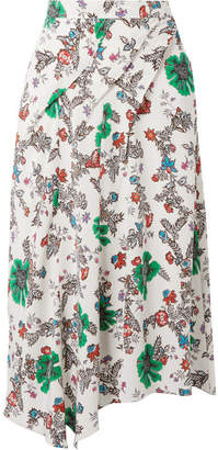 Isabel Marant Cacia Floral-print Silk-blend Crepe De Chine Skirt - Off-white