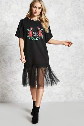 Forever 21 Contemporary Tulle Graphic Tunic