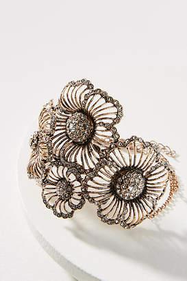 Azaara Crystal Flower Cuff Bracelet