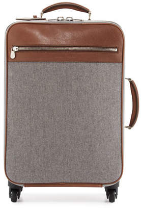 Brunello Cucinelli Men's Leather & Wool-Cashmere Trolley Suitcase, Tan/Gray