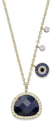 Meira T 14K Yellow Gold Sapphire Evil Eye Disc Necklace with 14K White Gold Side Bezels, 16""