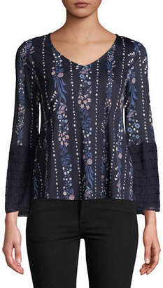 Style And Co. Petite V-Neck Long-Sleeve Tie Top