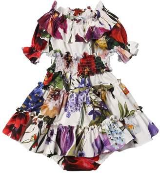 Dolce & Gabbana Floral Print Cotton Dress & Diaper Cover