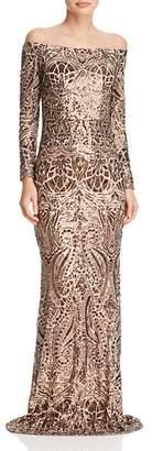 Aqua Off-the-Shoulder Sequin Gown - 100% Exclusive