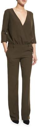 ba&sh Allure Surplice-Front Trouser Jumpsuit $261 thestylecure.com
