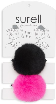 Surell Rabbit Fur Pom Pom Hair Tie