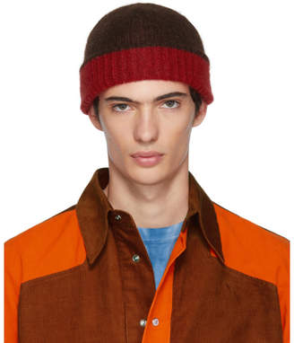 Marni Red and Brown Jersey Beanie