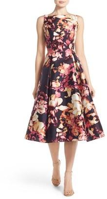 Adrianna Papell Floral Print Mikado Midi Dress $198 thestylecure.com