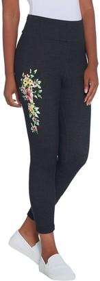 Denim & Co. Active Placed Floral Print Crop Knit Leggings