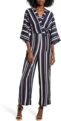 ALL IN FAVOR Crossover Stripe Jumpsuit