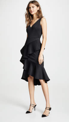 Marchesa Sleeveless Embroidered Stretch Cocktail Dress