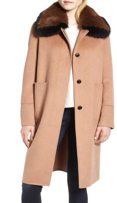 Derek Lam 10 Crosby Two-Tone Genuine Fox Fur Collar Walking Coat