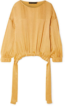 Sally LaPointe Crinkled-satin Top - Saffron