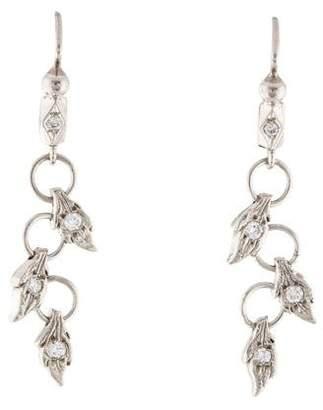 Cathy Waterman Diamond Zig Zag Leaf Drop Earrings