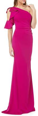 Carmen Marc Valvo Infusion One-Shoulder Ruffle Gown