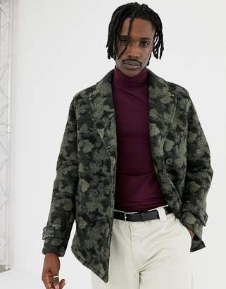 Asos DESIGN wool mix peacoat in camo