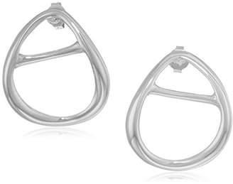 Halston H Sculptural Links Women's Silver Open Oval Stud Earring