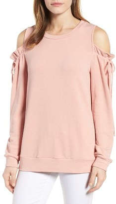 Petite Women's Pleione Paperbag Sleeve Cold Shoulder Pullover $59 thestylecure.com