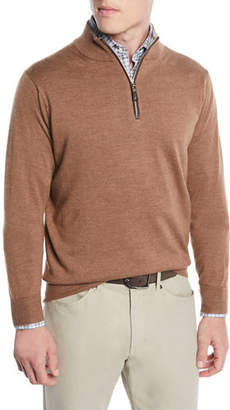 Peter Millar Men's Crown Soft Leather-Trim Half-Zip Sweater