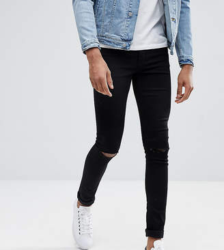 0aa0e821f Asos Design DESIGN Tall extreme super skinny jeans in black with knee rips