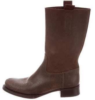 Prada Round-Tie Leather Boots