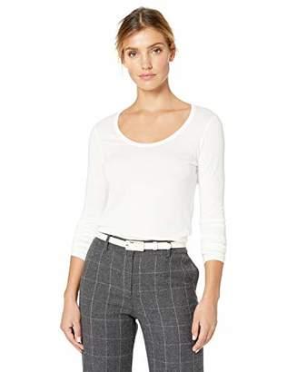 Lark & Ro Women's Jersey Pima Cotton/Modal Scoop Neck Long Sleeve T-Shirt