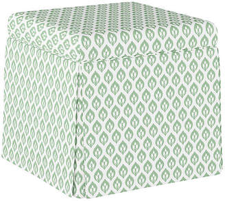 One Kings Lane Anne Skirted Storage Ottoman - Sage Floral Linen