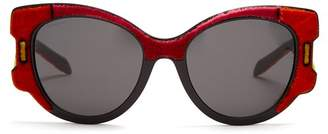 Prada Velvet Covered Cat Eye Sunglasses - Womens - Red Multi