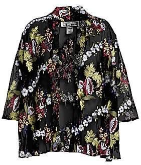 Caroline Rose Caroline Rose, Plus Size Women's Sheer Floral-Embroidered Cardigan