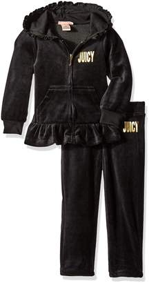 Juicy Couture Little Girls' Toddler 2 Piece Velour Hooded Jacket and Pant Set