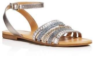 Jack Rogers Women's Hannah Embellished Leather Ankle Strap Sandals