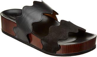 Chloé Lauren Scalloped Leather Flatform Sandal
