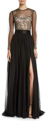 Catherine Deane Leslie Embellished & Sheer Long-Sleeve Gown