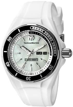 Technomarine Women's Quartz Watch with White Dial Analogue Display and White Silicone Strap TM-115123