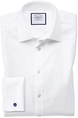Charles Tyrwhitt Slim Fit Non-Iron Step Weave White Cotton Dress Shirt Single Cuff Size 15.5/37