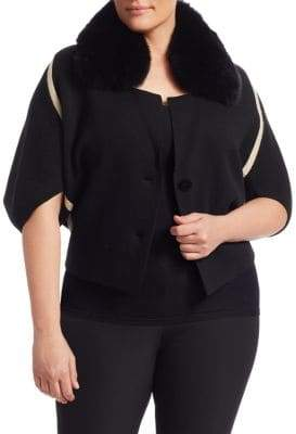 Marina Rinaldi Marina Rinaldi, Plus Size Marilena Cashmere-Blend Fox Fur-Trimmed Cardigan