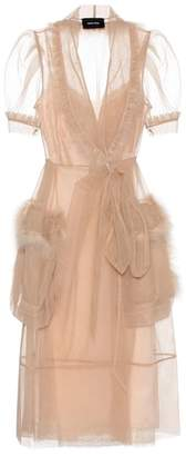 Simone Rocha Feather-trimmed tulle dress