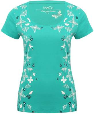 M&Co Floral butterfly scoop neck t-shirt