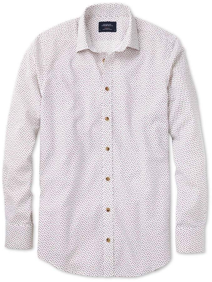 Slim Fit White and Pink Square Print Cotton/linen Casual Shirt Single Cuff Size Small by Charles Tyrwhitt