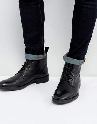 Dead Vintage Lace Up Boots In Black Leather