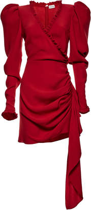 Magda Butrym Carlton Ruffled Wrap-Effect Silk-Crepe Mini Dress