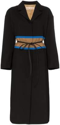 Marni contrast waistband wool coat