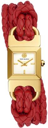 Tory Burch DOUBLE T LINK BRAIDED WATCH, RED LEATHER/GOLD-TONE, 18 MM