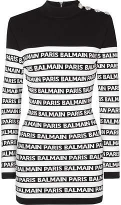 Balmain Button-embellished Striped Intarsia Stretch-knit Mini Dress - Black